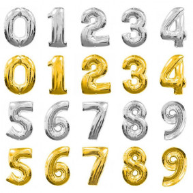 Number balloons, gold or silver