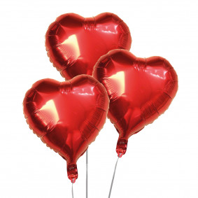 Heart shaped metal red balloons